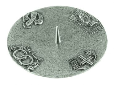 Kerzenständer 4 christliche Symbole Silberbronze 15 cm