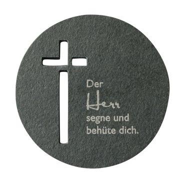 Relief Der Herr segne und behüte dich Schiefer Kreuz 10 cm