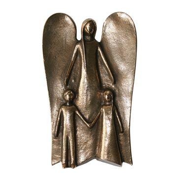Schutzengel mit zwei Kindern Bronzefigur 14 cm