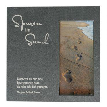Wandrelief Spuren im Sand Glas 17 cm Schiefertafel