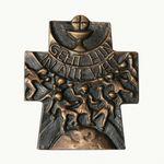 Wandkreuz Gehet hin in alle Welt Bronze 10 x 8 cm 001