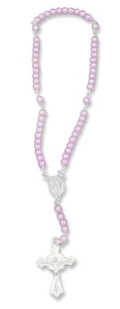 Rosenkranz für Kinder Baby rosa Perlen 15 cm Taufschmuck