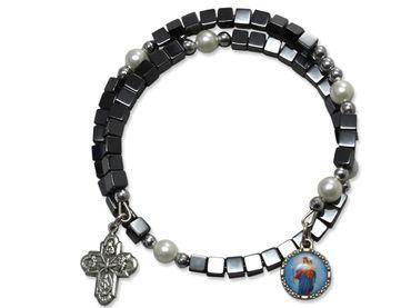 Armband Maria Jesukind Hämatit-Würfel Perlen Kreuz 6 cm
