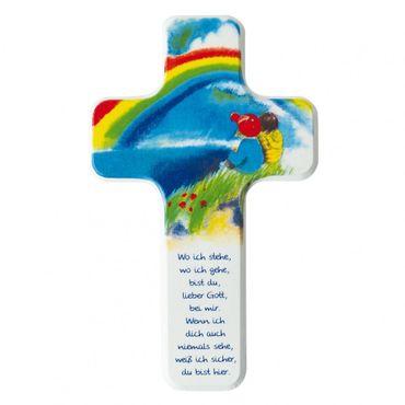 Kreuz für Kinder Gott, du bist bei mir 18 cm Holzkreuz
