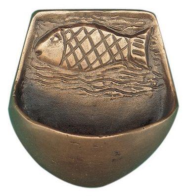 Weihwasserkessel Fisch 7,5 cm Bronze Weihwasserbecken