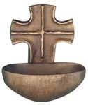 Weihwasserkessel Kreuz 9 cm Bronze Christoph Fischbach 001