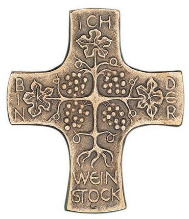 Wandkreuz Ich bin der Weinstock 9 x 8 cm Bronze
