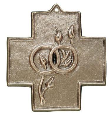 Wandkreuz Ringe zur Vermählung 9 cm Bronze