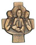 Wandkreuz Emmaus 7,5 x 9,5 cm Bronze 001