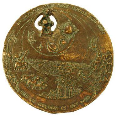 Wandplakette Schöpfung Edelpatina Ø 12,5 cm Bronze