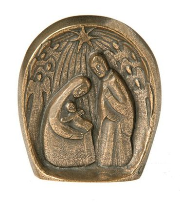 Weihnachtsszene, modern - 8,7 x 7,7 cm Bronze