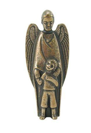 Schutzengel mit Kind 7 cm Bronzefigur