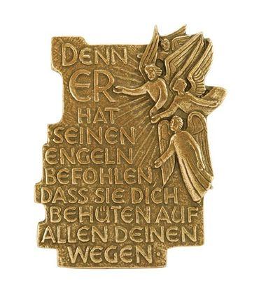 Plakette Denn er hat seinen Engeln 11 cm Bronze
