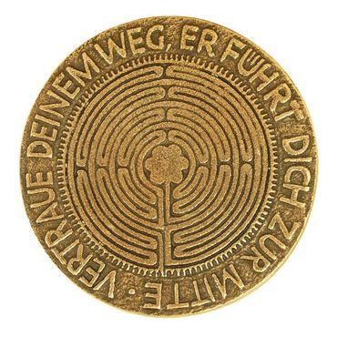 Relief Labyrinth Vertraue deinem Weg.. Ø 9 cm Bronze