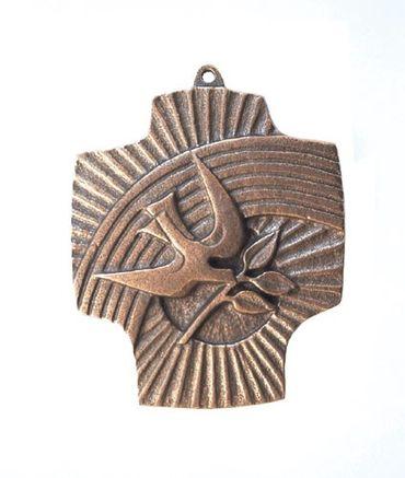 Wandkreuz Regenbogen Taube 9,5 cm Bronze