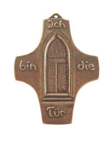 Kreuz Ich bin die Tür 9,5 x 7,5 cm Bronze