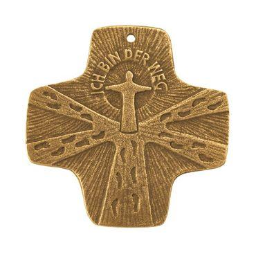 Kommunion-Kreuz Ich bin der Weg 7 x 7cm Bronze