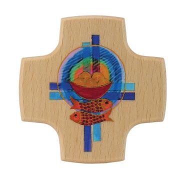 Holzkreuz Brot Fische Kreuze 8 cm Kruzifix