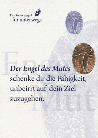 Engel des Mutes Bronzeplakette mit Kärtchen