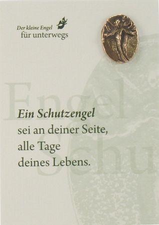 Engel des Schutzes Bronzeplakette mit Kärtchen