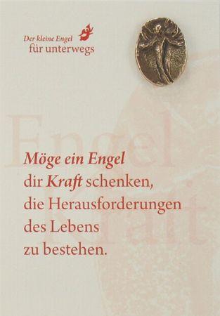 Engel der Kraft Bronzeplakette mit Kärtchen