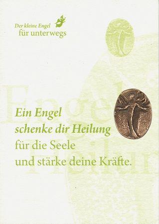 Engel der Heilung Bronzeplakette mit Kärtchen