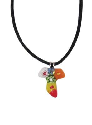 Tau-Kreuz mehrfarbig venezianisches Muranoglas 2 cm