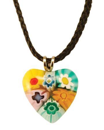 Herz Anhänger Murano Glas schwarze Kordel Ø 2 cm