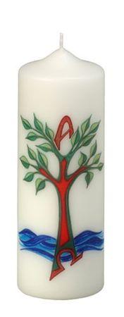 Tischkerze Lebensbaum Wasser 200 x 70 mm