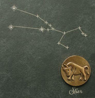 Wandrelief Sternzeichen Stier 14,5 cm Schiefer Swarovski