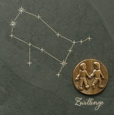 Wandrelief Sternzeichen Zwillinge Schiefer Swarovski