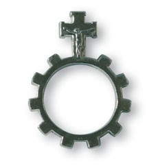 Gebetsring Rosenkranz Metallkreuz vernickelt
