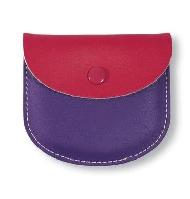 Rosenkranz Etui Leder zweifarbig pink violett 8,5 cm