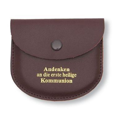 Rosenkranz Etui Leder, braun Kommunion Geschenk 8 cm