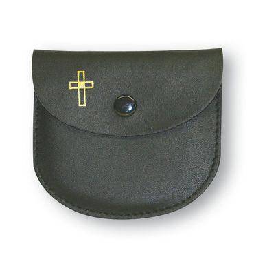 Rosenkranz Etui Leder schwarz Kreuz Kommunion