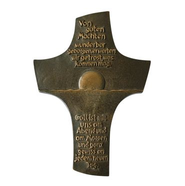 Wandkreuz Von guten Mächten 18 cm Bronze
