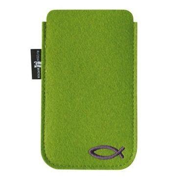 Handy-Tasche grün, christliches Fisch-Motiv 7,5 x 12,5 cm