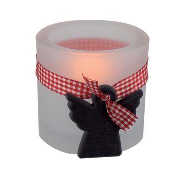 Glaswindlicht Schiefer-Engel inkl. Teelicht