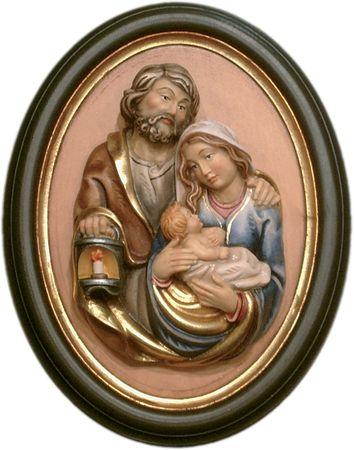 Wandrelief Heilige Familie Holz, geschnitzt Rahmen handbemalt