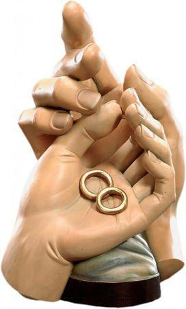 Schützende Hände Ehe Holz, geschnitzt handbemalt