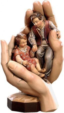 Schützende Hände des Kinder Holz, geschnitzt handbemalt