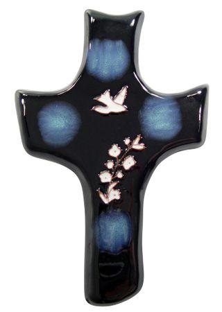 Wandkreuz Keramik, blau mit Taube und Blumen 20 x 13 cm