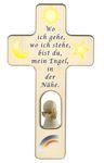 Kreuz für Kinder Schutzengel Gebet Holz-Engel, weiß  001