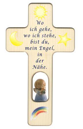 Kreuz für Kinder Schutzengel Gebet blau Holz-Kreuz