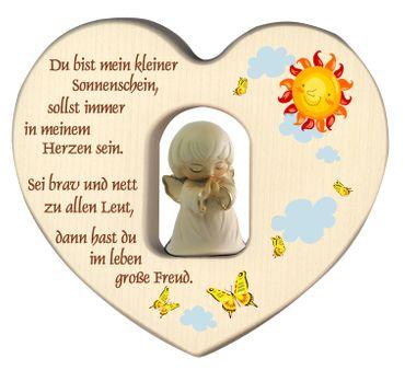 Herz mit Schutzengel, weiß Gebet Holz geschnitzt 12 cm