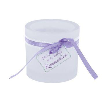 Glaswindlicht Kommunion inkl Teelicht Kerzenhalter