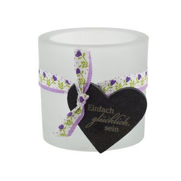 Glaswindlicht Glücklich inkl Teelicht Kerzenhalter
