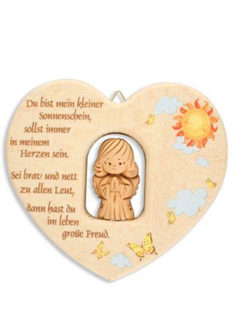 Herz mit Schutzengel Segen-Gebet Holz Ton 11 cm