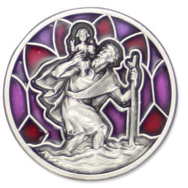 Autoplakette Christopherus rubinrot 3 cm Magnet Klebepad