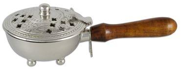 Räucherpfanne mit Holzgriff Messing Nickel 21 cm
